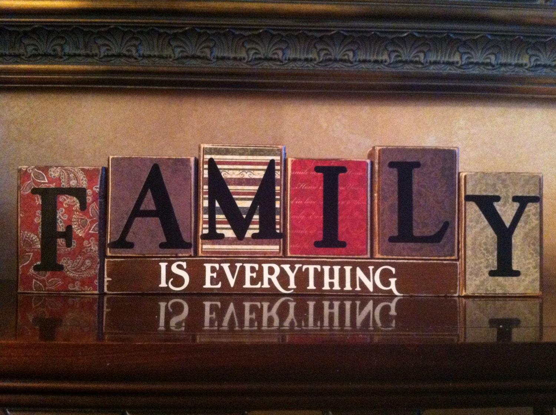 Family wood blocks home decor