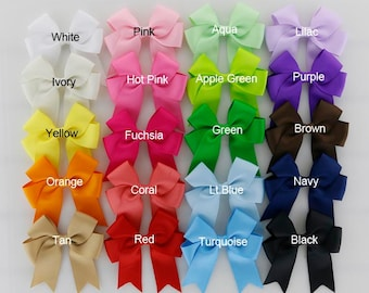 """4 1/2"""" Long Tail Cheerleader Bows -  20 different colors - Bows for Girls - Toddler bows - 4 1/2"""" school bows"""