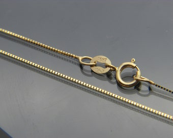 "10kt yellow gold box link chain necklace pendant chain 16"",16"",20"",22"",24""(WHOLESALE PRICE)"