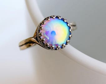 Sterling Silver Iridescent Rainbow Ring, Multicolour Ring, Adjustable Rings, Aurora Borealis Ring, Mystic, Colorful Jewelry, Unique Rings