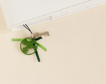 Green planner charm, planner pendant, planner accessories, green charm with key