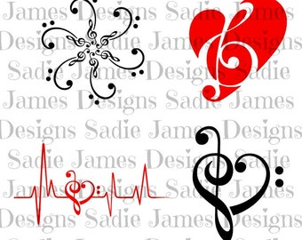 Music Treble Bass Clef Collection SVG and Silhouette Studio cutting file, instant download
