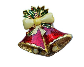 Christmas Brooch Red Bell Holly and Berries Vintage Scarf Pin Holiday Jewelry