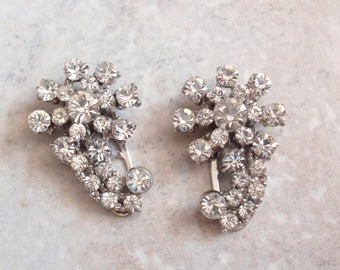 Dress Clip Set Crystal Rhinestones Shooting Star Pat 1801128 Vintage V0912
