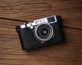 MS Edition Fujifilm fuji X100T Handmade Half Case Cowhide leather insert Camera bag Protector Holster Made TO Order SD Battery Access Door