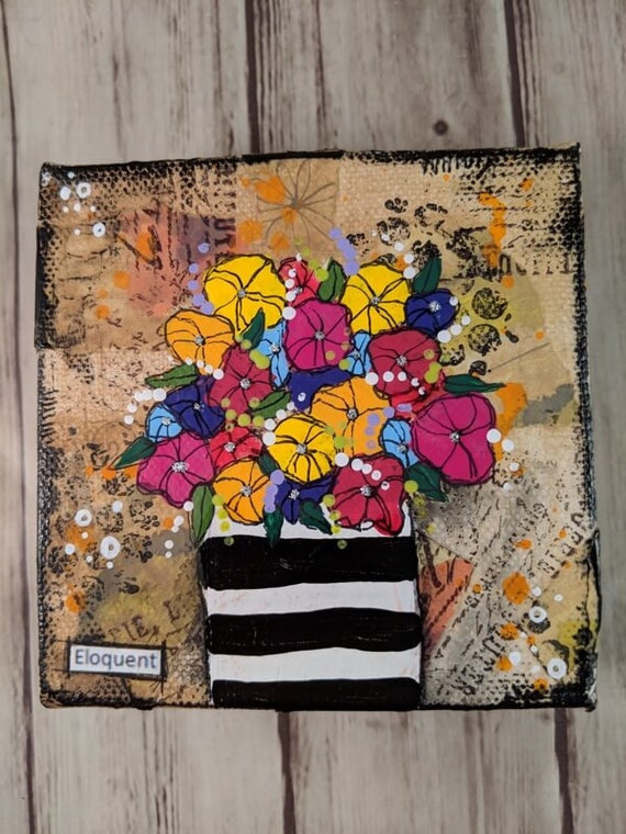 Acrylic Mixed Media Painting On 4 Square Canvas Black
