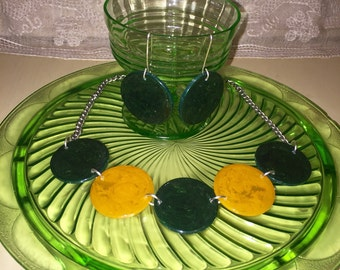 Vintage Bakelite Poker Chip Necklace and Earrings Set Green Butterscoth Yellow Upcycled