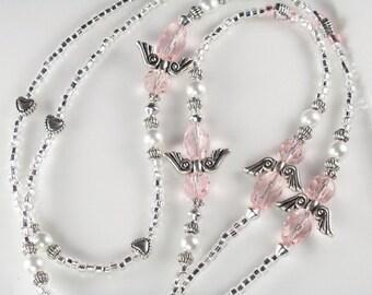 Angel Beaded Lanyard SWEET ANGEL id badge holder pink glass