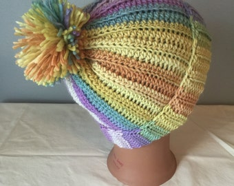 Slouchy Ribbed Hat in 3 Sizes Adult Women Men Child and Toddler Confetti with Pom
