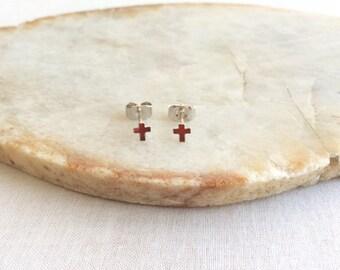 Sterling Silver Cross Stud Earrings -Tiny Cross Earring - Small Cross Earrings - Silver Cross Earrings - Red Cross Earrings - Cross Studs