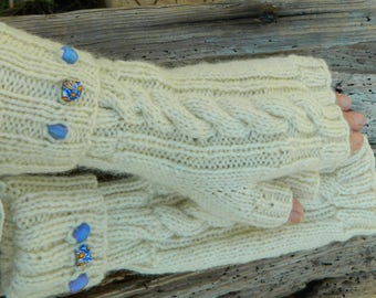 Hand knitted Women's cable fingerless gloves made from 100% wool