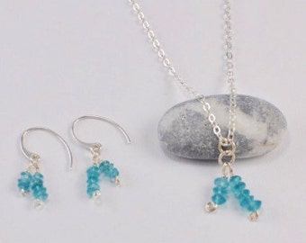 Green Blue Apatite Gemstone Silver Dangle Earrings, matching Pendant on Sterling Silver chain