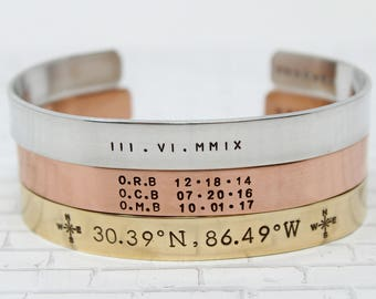 Personalized Mens Cuff + Cuff Bracelet + Christmas Gift For Him + Customized Gift + Kids Names + GPS Bracelet + Husband + Gift For Dad