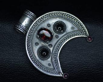Fine Silver Lunula with Garnets and Black Onyx