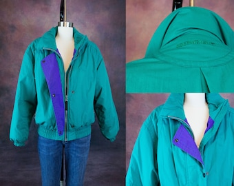 80s Obermeyer Teal and Blue Puffy/Ski Jacket