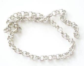 Round link chain silver plated antiqued (sold by 50cm)
