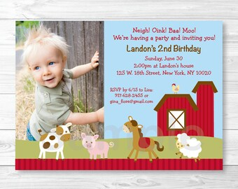 Cute Farm Animal Birthday Invitation / Farm Animal Birthday Invite / Barnyard Birthday Invite / Farm 1st Birthday / Any Age / PRINTABLE A260
