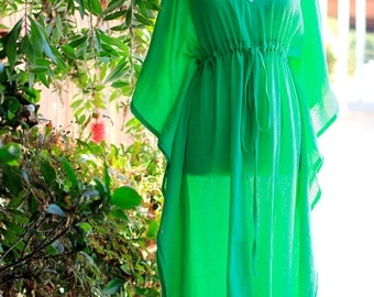 Caftan Maxi Dress - Beach Cover Up Kaftan in Parrot Green Cotton Gauze