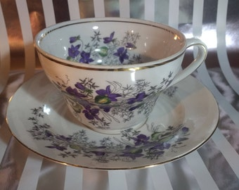 Pretty Boleslawiec Made in Poland Large Floral Teacup and Saucer 22K Gold with Purple Flowers