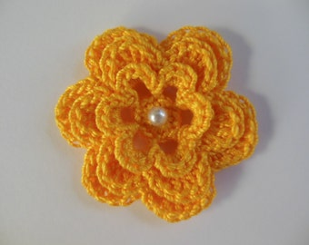 Crocheted Flower - Goldenrod Yellow with Pearl - Cotton Flower - Crocheted Flower Applique - Crocheted Flower Embellishment