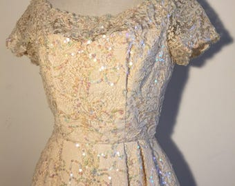 Vintage 50s Lace Sequin Cream Dress M