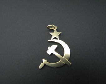 c747 USSR Symbol in 14K Yellow Gold Pendant/ Charm