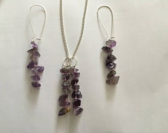 Necklace and Earrings Amethyst Crystals Earrings Matching Necklace