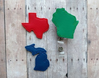 Choose Your State Badge Clip ID Holder, Embroidered Vinyl in 31 Colors, Made in USA, Retractable State ID Holder, Badge Reel