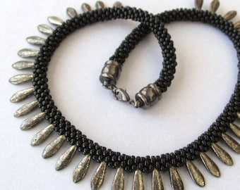 Beaded Kumihimo Necklace, Black with Gold Daggers