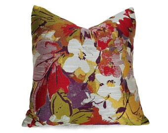Designer Pillows, Colorful Pillow, Floral Pillow Covers, 18x18, Floral Cushions, Red Chartreuse Purple Pillow, Zipper, Elegant, 20x20