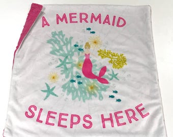 A Mermaid Sleeps Here Baby Girl Blanket, Pink Mermaid Watercolour Minky Baby Blanket, Pink Baby Blanket, Baby Shower Gift, Ready to Ship