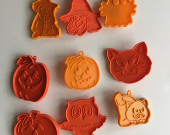9 Vintage Halloween Cookie Cutter Witch-Ghost-Cat-Pumpkin-Owl