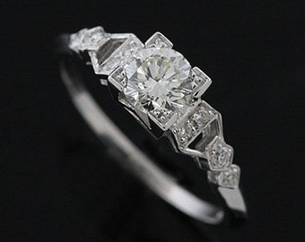 Art Deco Engagement Ring, Graduated Diamond Ring, Step Shank Proposal Ring, 18K White Gold Engagement Ring, Diamond Ring Setting Mounting