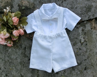 Boy baptism outfit. Baby christening outfit.Toddler boy baptism. Baby suspender shorts. Baby boy wedding outfit. Baby boy linen shorts set.