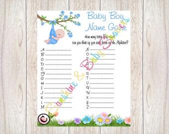 Baby Alphabet Game,Mum To Be,Baby Boy,Baby Name Game,Printable,Baby Shower,Baby shower Games,baby shower ideas,Baby Boy Name game,Blue
