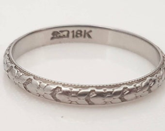 Antique wedding band, Art Deco wedding band, antique wedding ring, Art Deco wedding ring, 18k wedding band, antique eternity ring,