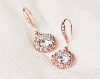 Bridal Earrings Rose Gold Wedding Jewelry Round Halo Earrings Bridesmaid Gift Rose Gold Earrings Bridal Earrings Crystal Bridal Jewelry