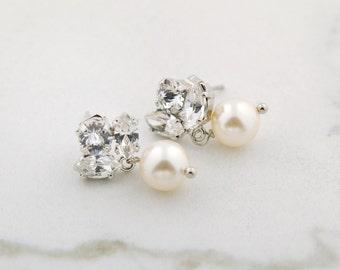 Dainty bridal earrings - crystal and pearl drop earrings - bridesmaids earrings - Emma earrings
