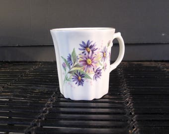 Vintage 50's Royal Grafton fine bone china mug cup purple asters and gold accents Made in England