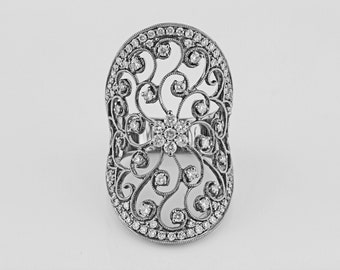 1.35ct Pave' Diamond  in 14K White Gold Filigree Victorian Design Ring