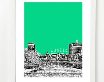 Dublin City Art - Dubli Ireland Skyline Poster - Ireland Travel Art