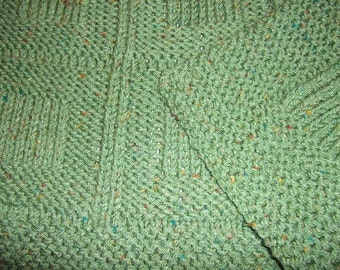 Baby to Toddler Knitted Afghan Blanket - Green Fiesta