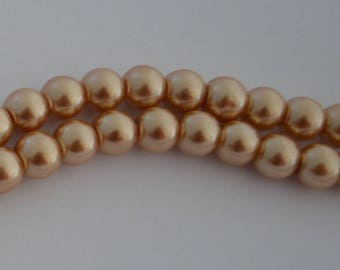 50 glass Pearl 8 mm yellow amber beads