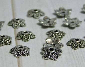 20pcs - 8mm - Silver Bead Caps - End Caps - 8mm Bead Cap - Silver End Beads - Metal Bead Caps - Silver Caps - (2386)