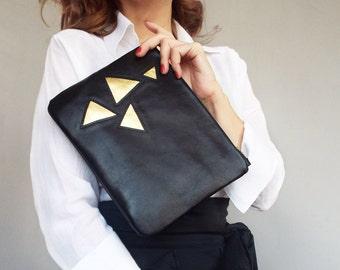 Black leather clutch. Applique black gold clutch bag. Black leather evening clutch.