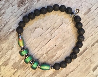 ZenHappy Mood Beads and Black Lava Gemstone Stretch Bracelet with Sterling Silver Heart Charm; Aromatherapy Diffuser Bracelet