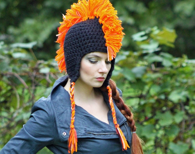 Black and Orange Mohawk Earflap Hat