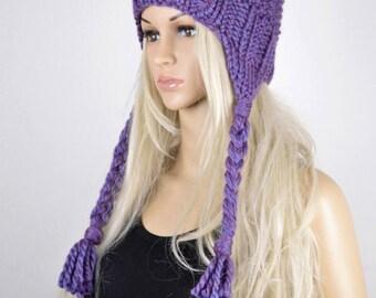 Hat, Knit hat, Chullo, Ear Flap Hat, Pom Pom Hat, Winter Hat, Handmade Hat, Chullo Hat, Purple Earflap, White Faux Fur Pom Pom Hat