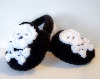 Crochet Pirate Baby And Toddler Booties  - Pirate Booties -Skull And Crossbone Booties -  9-12 Months- Crochet Baby Shoes