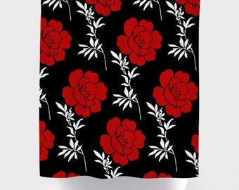 Red, black and white flower fabric shower curtain, high quality shower curtain, shower curtain, bathroom decor, home decor, red and black